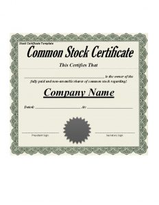 stock certificate template stock certificate template