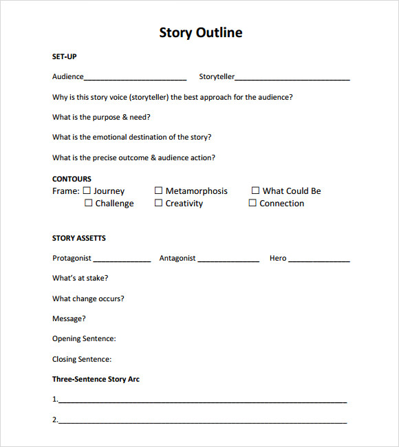 Story Outline Template  Template Business
