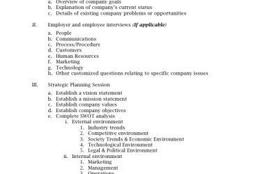 strategic plan outline strategic planning outline