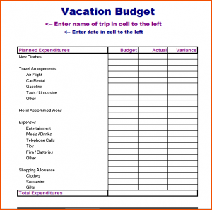 student budget worksheet vacation budget planner