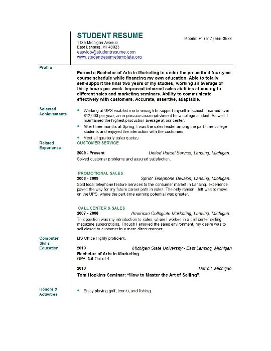 Student Resume Example | Template Business