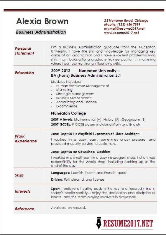 Student Resume Format Template Business