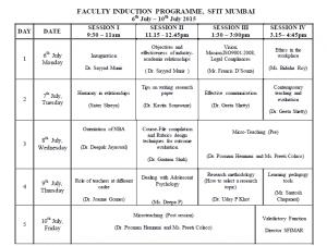student schedule template fip