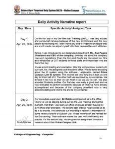 student schedule template ojt narrative report