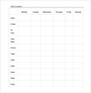 study schedule template study schedule template download in word doc