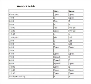 study schedule template weekly study schedule template printable