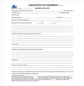 subcontractor agreement template example subcontract agreement template