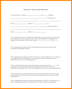subcontractor agreement template subcontractor agreement template contractor subcontractoragreement