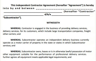 subcontractor contract template independent subcontractor agreement template