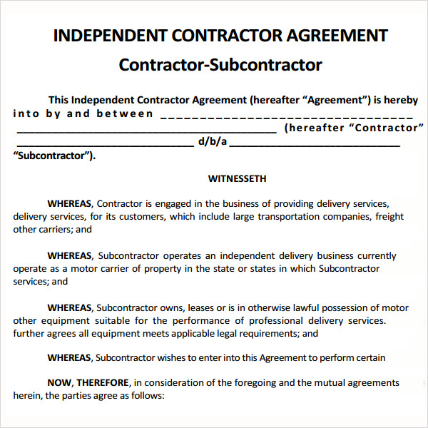 Subcontractor Contract Template  Template Business