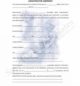 subcontractor contract template subcontractor agreement template part