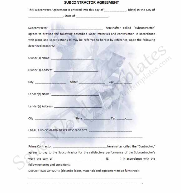 Subcontractor contract template template business for Subcontracting contract template