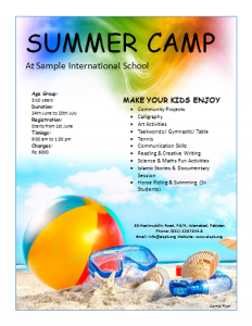 summer camp flyer free smmer camp flyer