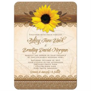 sunflower wedding invitations roundedrectangle rustic burlap lace and wood sunflower wedding invitation front
