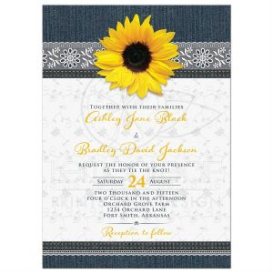 sunflower wedding invitations rectangle sunflower denim and lace wedding invitation front