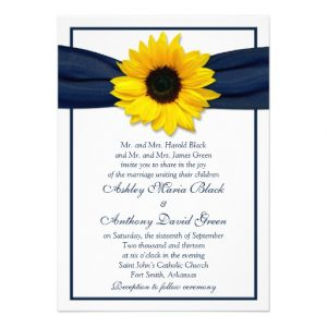 sunflower wedding invitations sunflower navy blue ribbon wedding invitation rdfbaddafece imtzy byvr