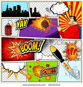 superhero invite template stock vector comics template vector retro comic book speech bubbles illustration mock up of comic book page