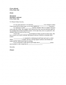 support letter for a friend adoption reference letter template