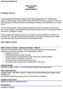 support letter template technical architect cv example