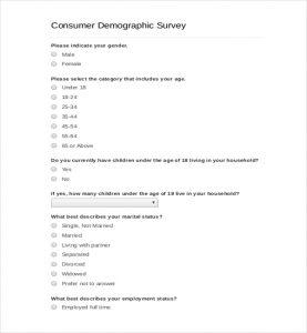 survey demographic questions consumer demographic survey template pdf