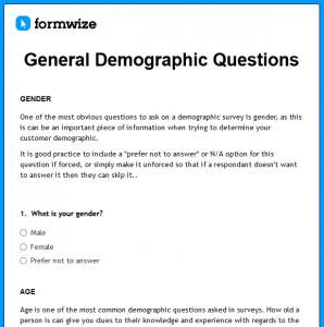 survey demographic questions t
