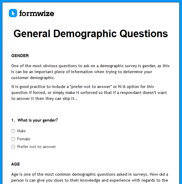 survey demographic questions