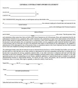 sworn statement template contractors sworn statement template