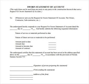 sworn statement template sworn statement of account template