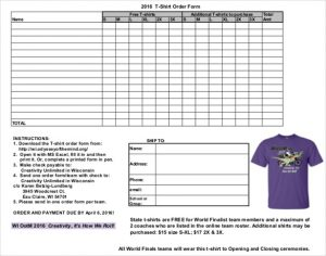 T Shirt Order Form Template Business