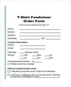 t shirt order form t shirt fundraiser order form1