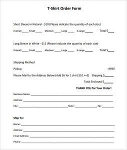 t shirt order form template short sleeve t shirt order form template pdf printable