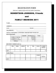 t shirt order forms robertson amp johnson family reunion letter