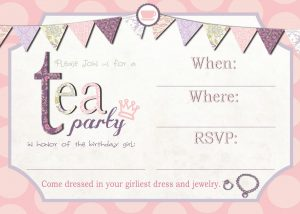 tea party invitation template cards