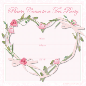 tea party invitation template heart and flowers tea party invitation