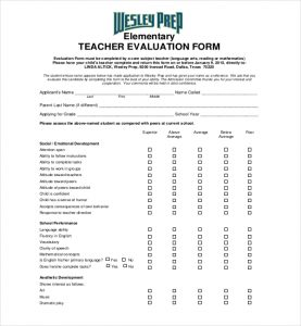teacher evaluation form elementary teacher evaluation form