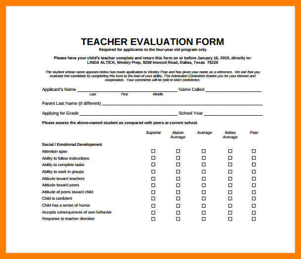Teacher Evaluation Form  Template Business