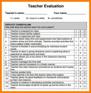 teacher evaluation form preschool teacher performance evaluation form