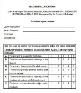 teacher evaluation form printable teacher evaluation form