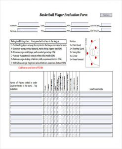 teacher evaluation forms basketball player evaluation
