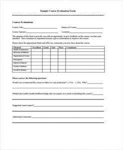 teacher evaluation forms printable course evaluation form