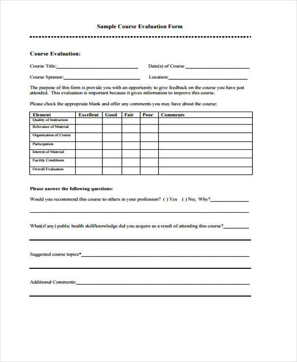 Teacher evaluation forms template business for End of course evaluation template