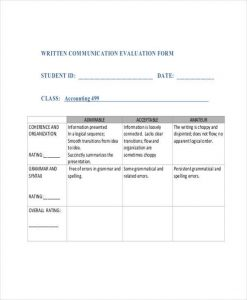 teacher evaluation forms written communication evaluation form