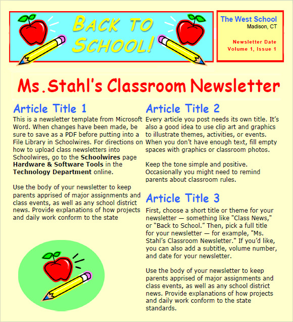Teacher newsletter templates template business for Free online newsletter templates pdf