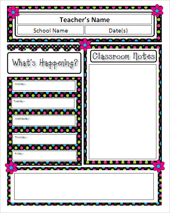 teacher newsletter templates