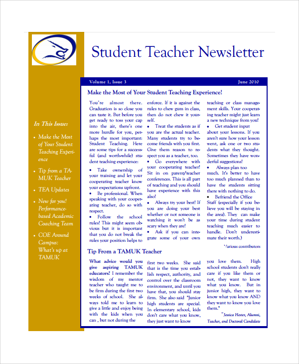 Teacher Newsletter Templates  Template Business