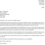teacher resignation letter teacher resignation letter example