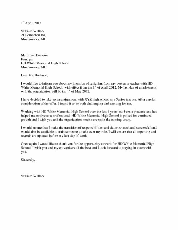Teacher Resignation Letter  Template Business