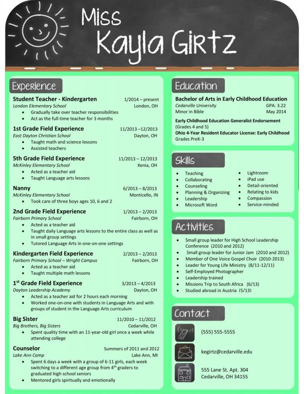 teacher resume template free