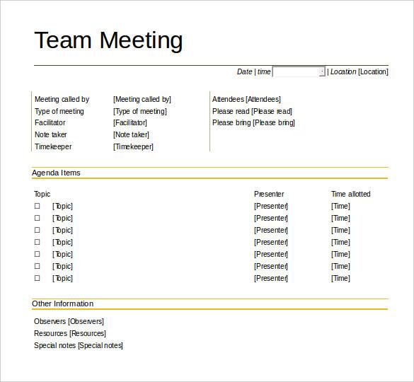 team meeting agenda template