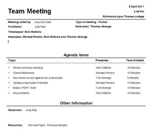 team meeting agendas team meeting